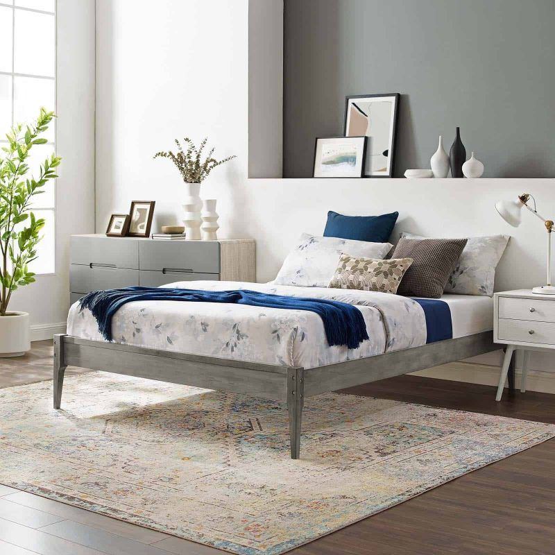 June King Wood Platform Bed Frame in Gray