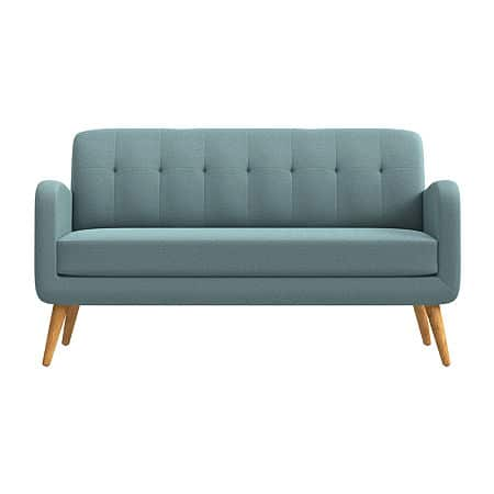Kingston Curved Slope-Arm Sofa, One Size , Blue