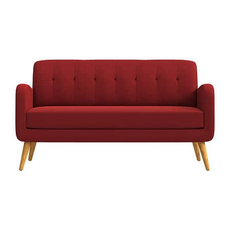 Kingston Curved Slope-Arm Sofa, One Size , Red