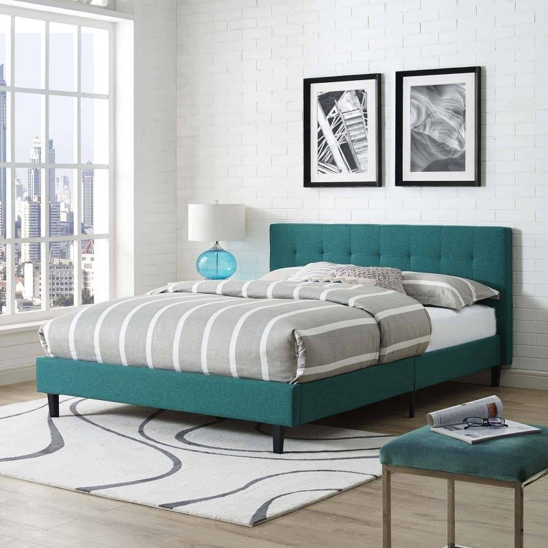 Linnea Queen Fabric Bed in Teal