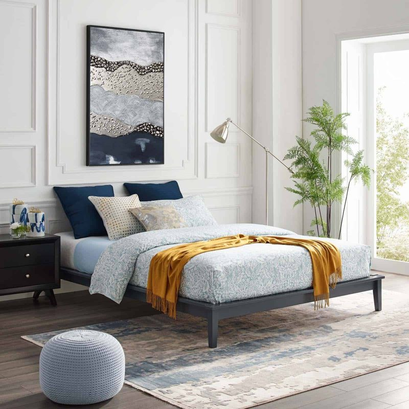 Lodge Queen Wood Platform Bed Frame in Gray