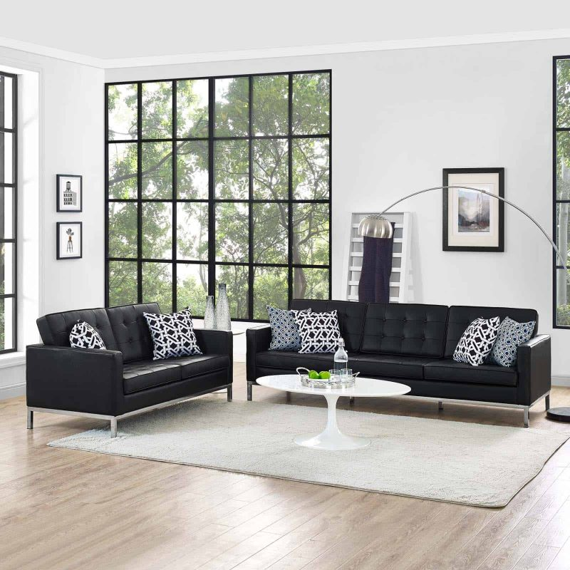 Loft 2 Piece Leather Sofa and Loveseat Set in Black
