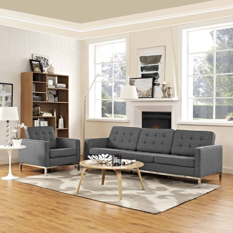 Loft 2 Piece Upholstered Fabric Sofa and Armchair Set in Gray