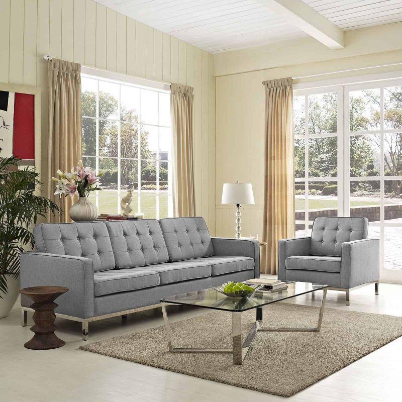 Loft 2 Piece Upholstered Fabric Sofa and Armchair Set in Light Gray