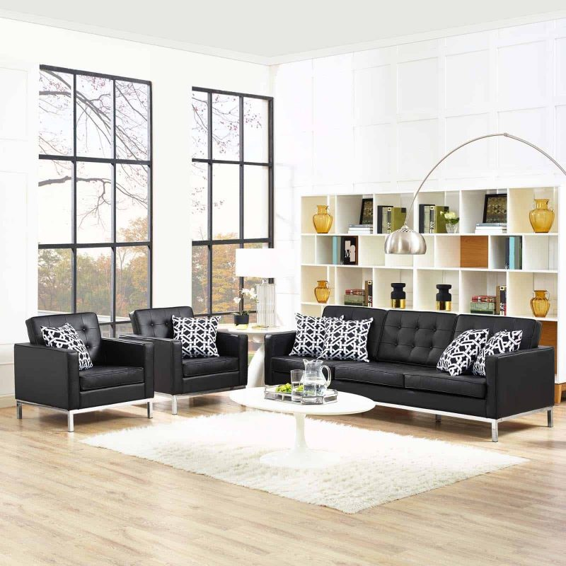 Loft 3 Piece Leather Sofa and Armchair Set in Black