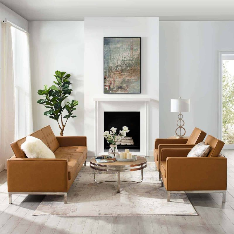 Loft 3 Piece Tufted Upholstered Faux Leather Set in Silver Tan
