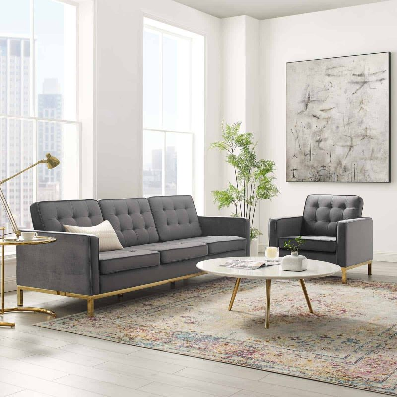 Loft Gold Stainless Steel Leg Performance Velvet Sofa and Armchair Set in Gold Gray