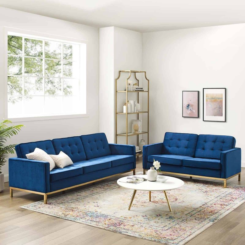 Loft Gold Stainless Steel Leg Performance Velvet Sofa and Loveseat Set in Gold Navy