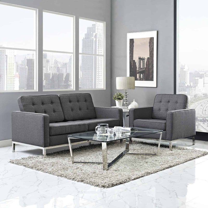 Loft Living Room Set Upholstered Fabric Set of 2 in Gray