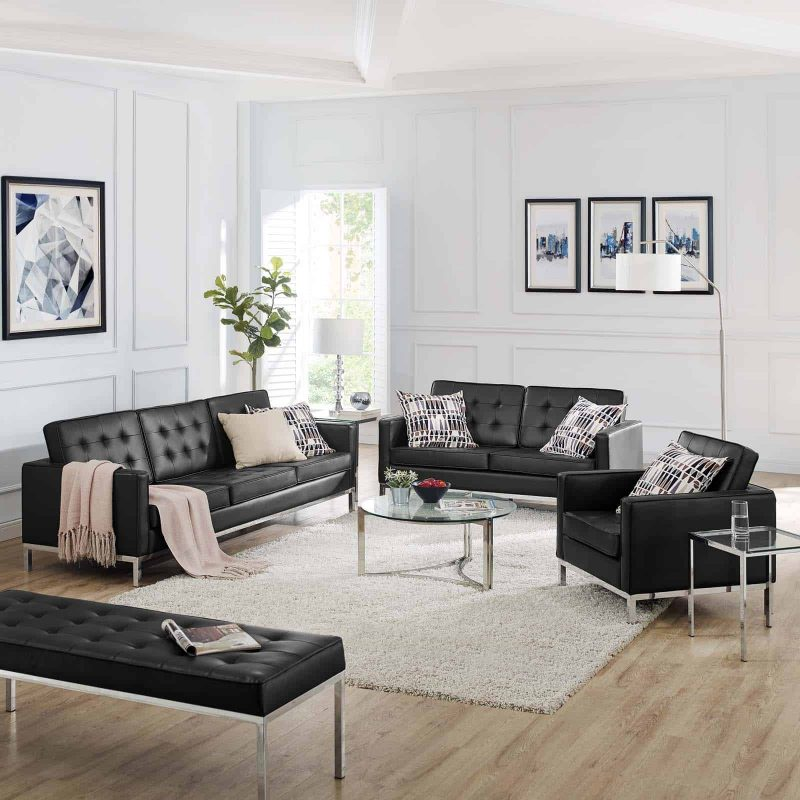Loft Tufted Upholstered Faux Leather 3 Piece Set in Silver Black