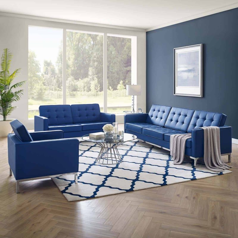 Loft Tufted Upholstered Faux Leather 3 Piece Set in Silver Navy