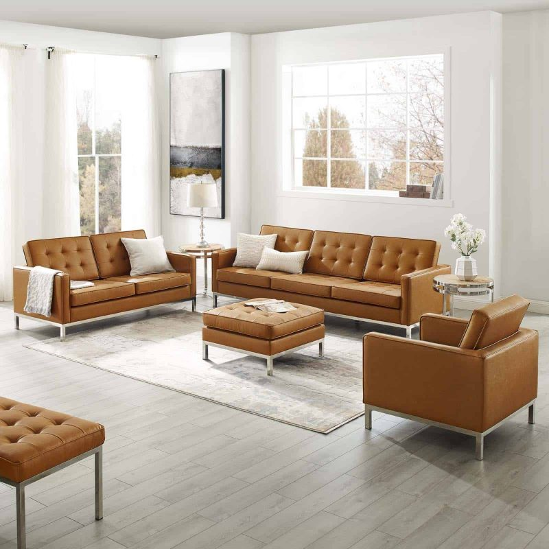 Loft Tufted Upholstered Faux Leather 3 Piece Set in Silver Tan