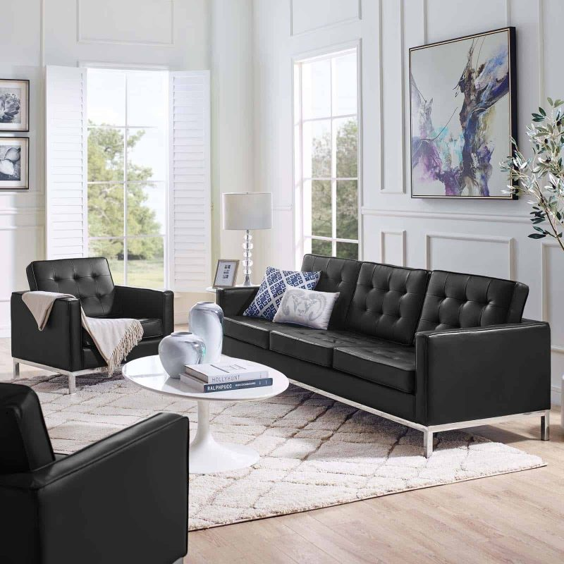 Loft Tufted Upholstered Faux Leather Sofa and Armchair Set in Silver Black