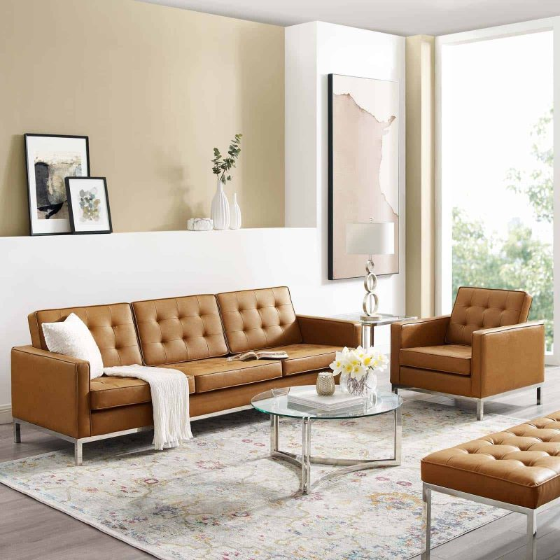 Loft Tufted Upholstered Faux Leather Sofa and Armchair Set in Silver Tan
