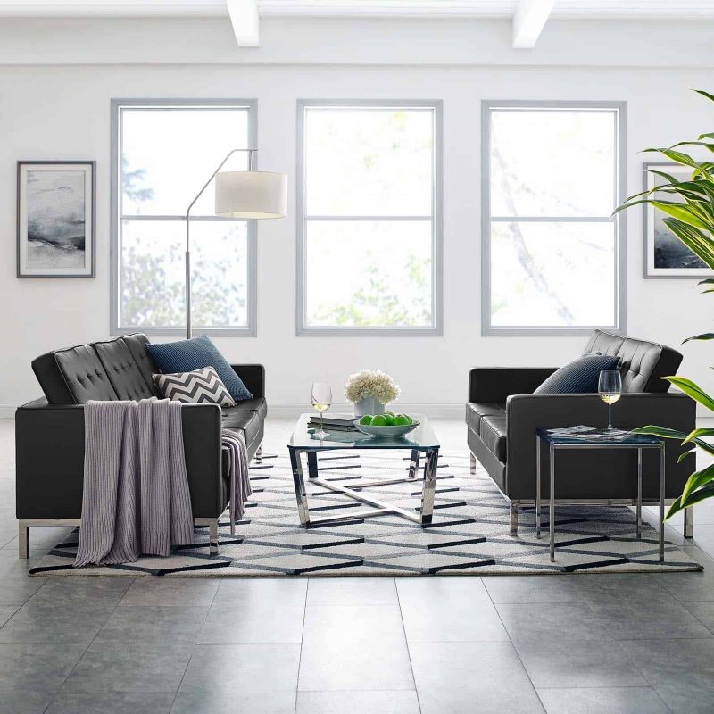 Loft Tufted Upholstered Faux Leather Sofa and Loveseat Set in Silver Black
