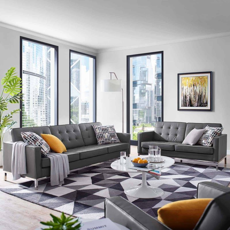 Loft Tufted Upholstered Faux Leather Sofa and Loveseat Set in Silver Gray