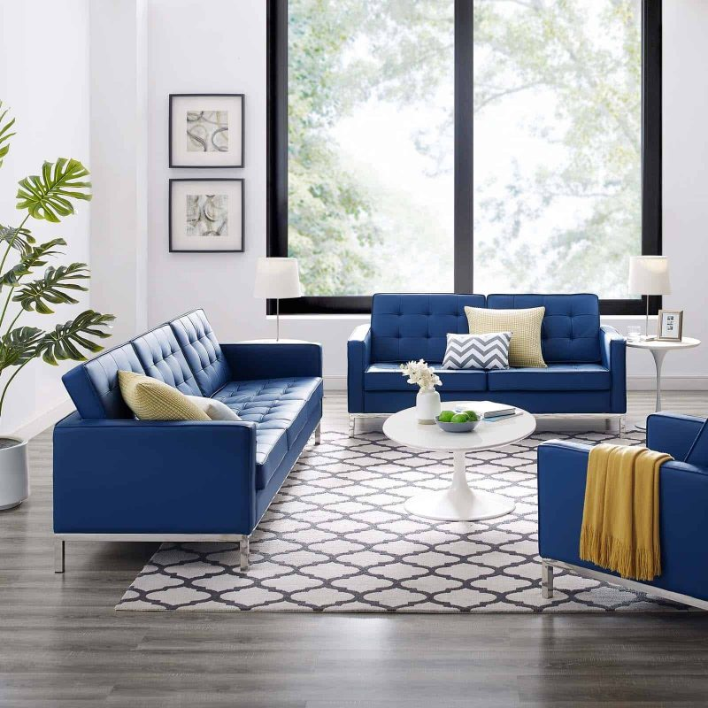 Loft Tufted Upholstered Faux Leather Sofa and Loveseat Set in Silver Navy