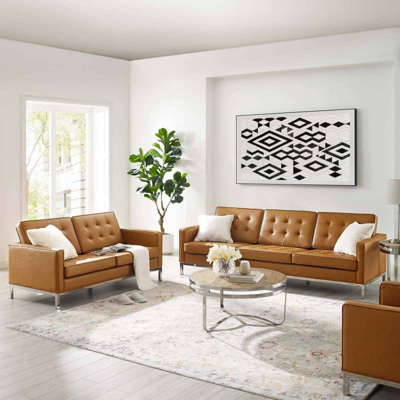 Loft Tufted Upholstered Faux Leather Sofa and Loveseat Set in Silver Tan