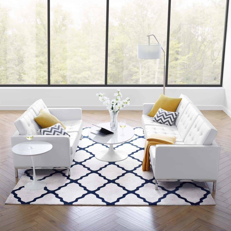 Loft Tufted Upholstered Faux Leather Sofa and Loveseat Set in Silver White