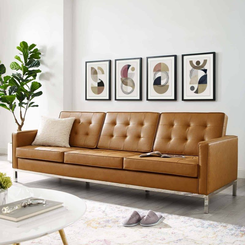 Loft Tufted Upholstered Faux Leather Sofa in Silver Tan