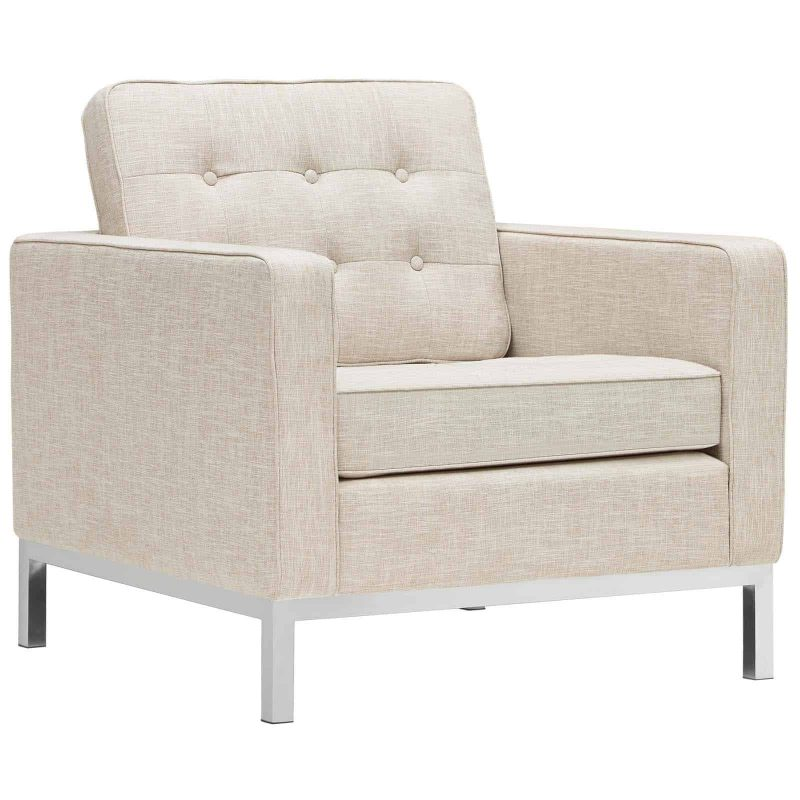 Loft Upholstered Fabric Armchair in Beige