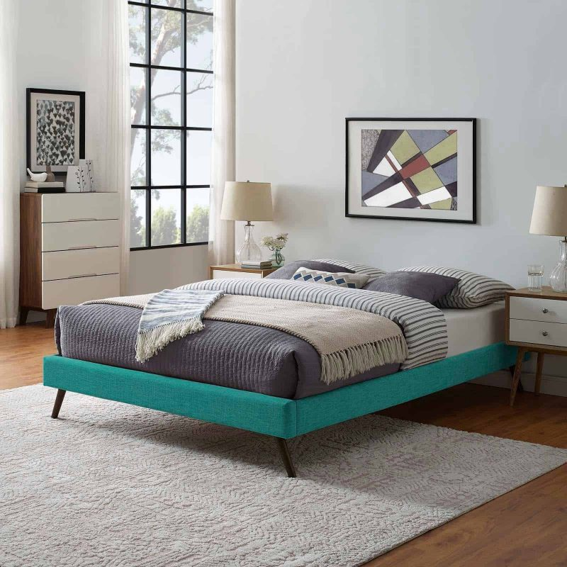 Loryn Queen Fabric Bed Frame with Round Splayed Legs in Teal
