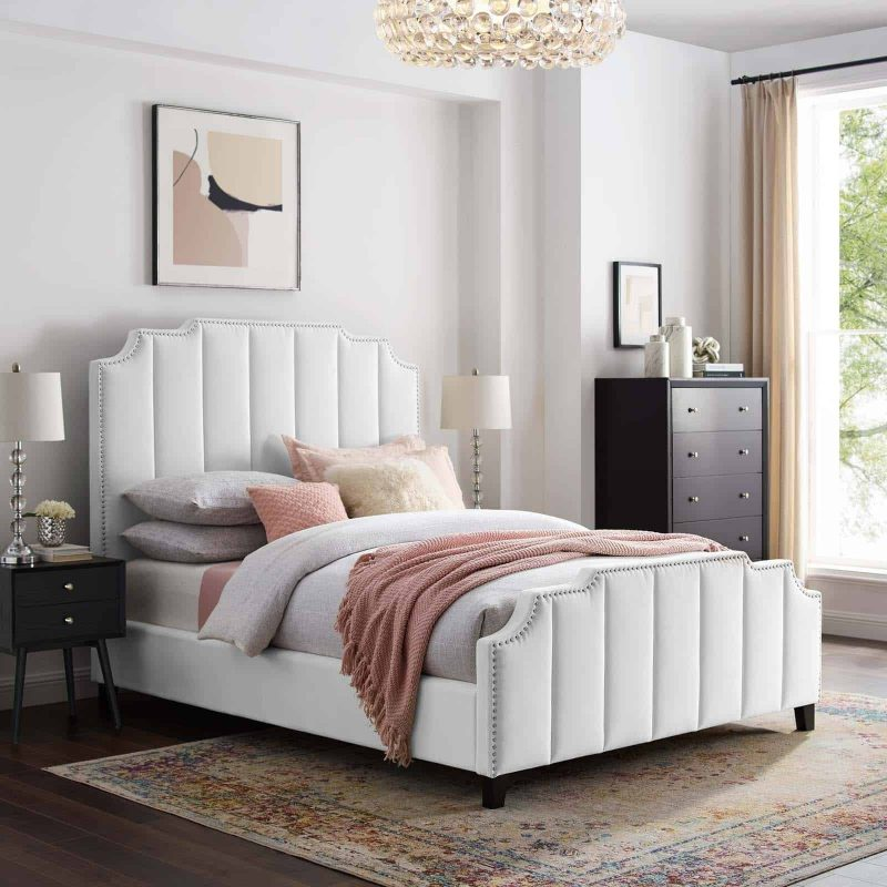 Lucille Queen Performance Velvet Platform Bed in White