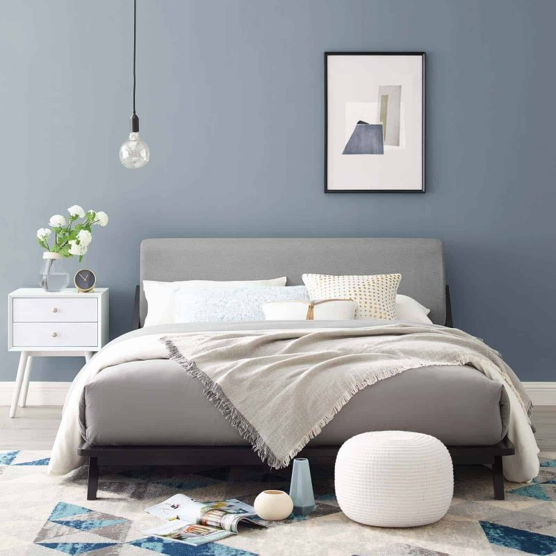 Luella Queen Upholstered Fabric Platform Bed in Cappuccino Light Gray