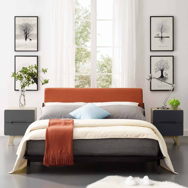 Luella Queen Upholstered Fabric Platform Bed in Cappuccino Orange