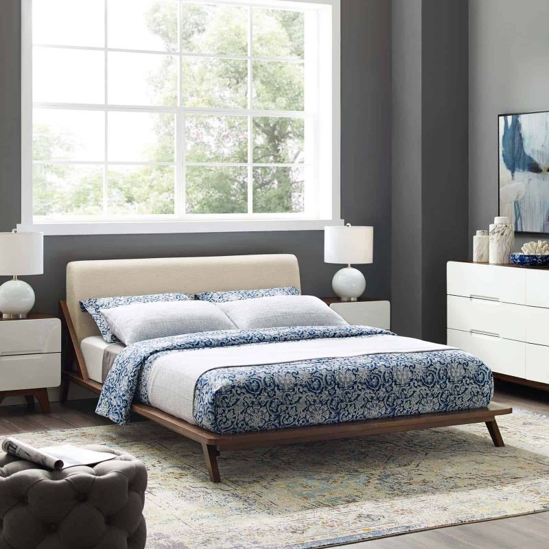 Luella Queen Upholstered Fabric Platform Bed in Walnut Beige