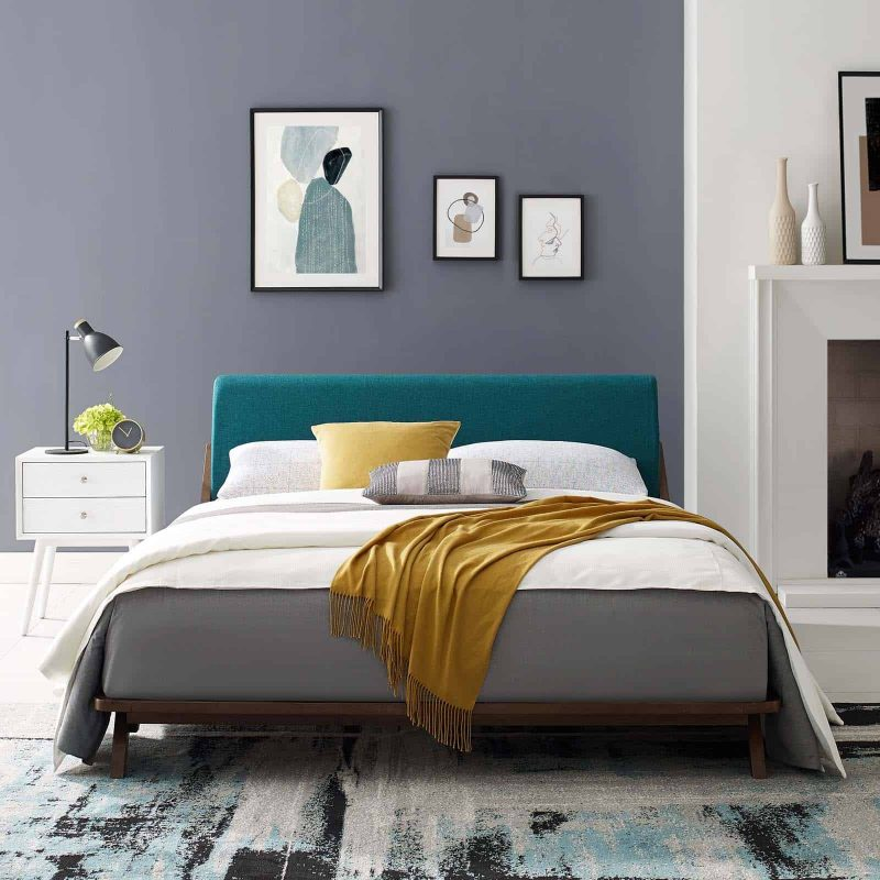 Luella Queen Upholstered Fabric Platform Bed in Walnut Teal