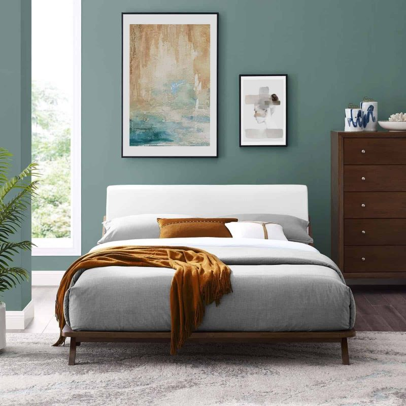 Luella Queen Upholstered Fabric Platform Bed in Walnut White