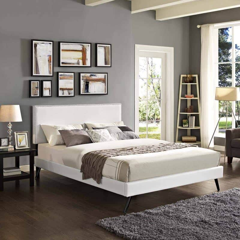 Macie Full Vinyl Platform Bed with Round Splayed Legs in White