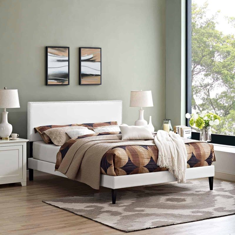 Macie Full Vinyl Platform Bed with Squared Tapered Legs in White