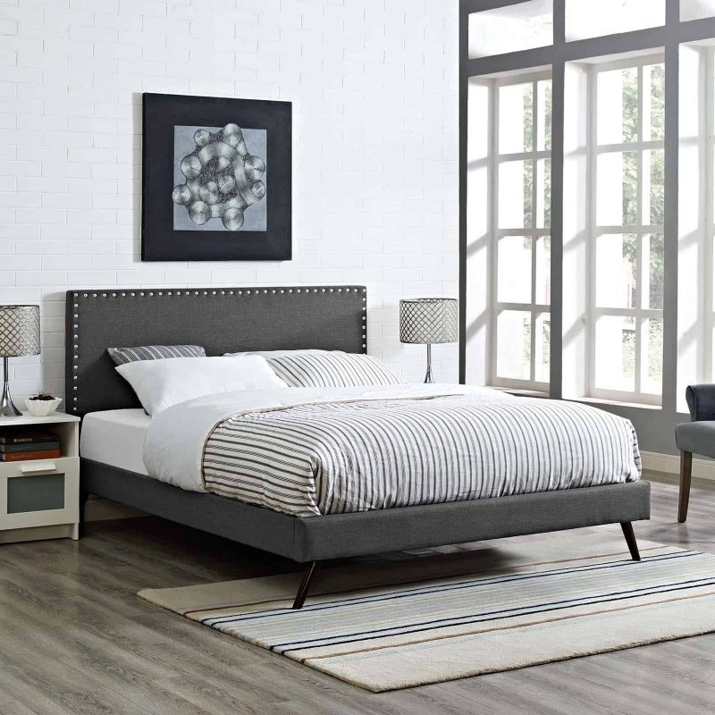 Macie King Fabric Platform Bed with Round Splayed Legs in Gray