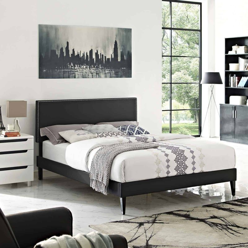 Macie King Vinyl Platform Bed with Squared Tapered Legs in Black