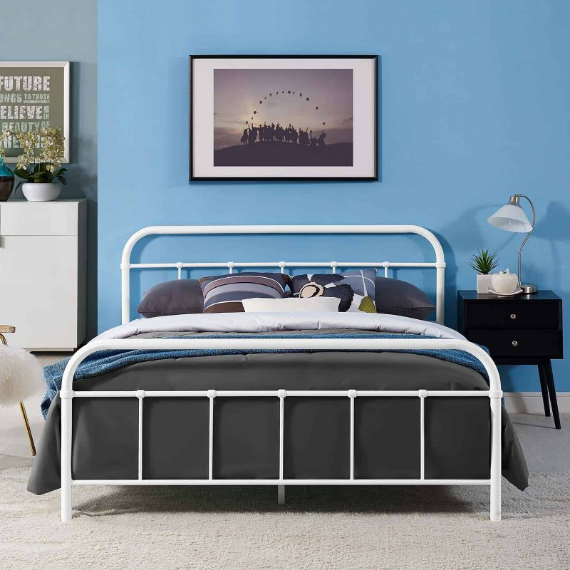 Maisie Queen Stainless Steel Bed Frame in White