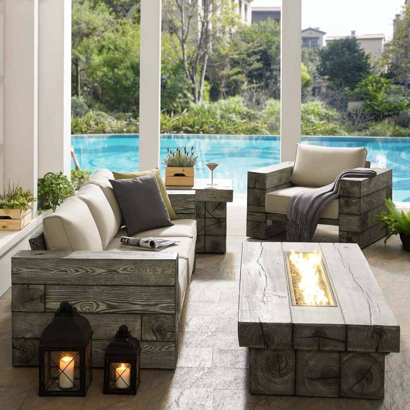 Manteo Rustic Coastal Outdoor Patio Sunbrella® 4 Piece Set in Light Gray Beige