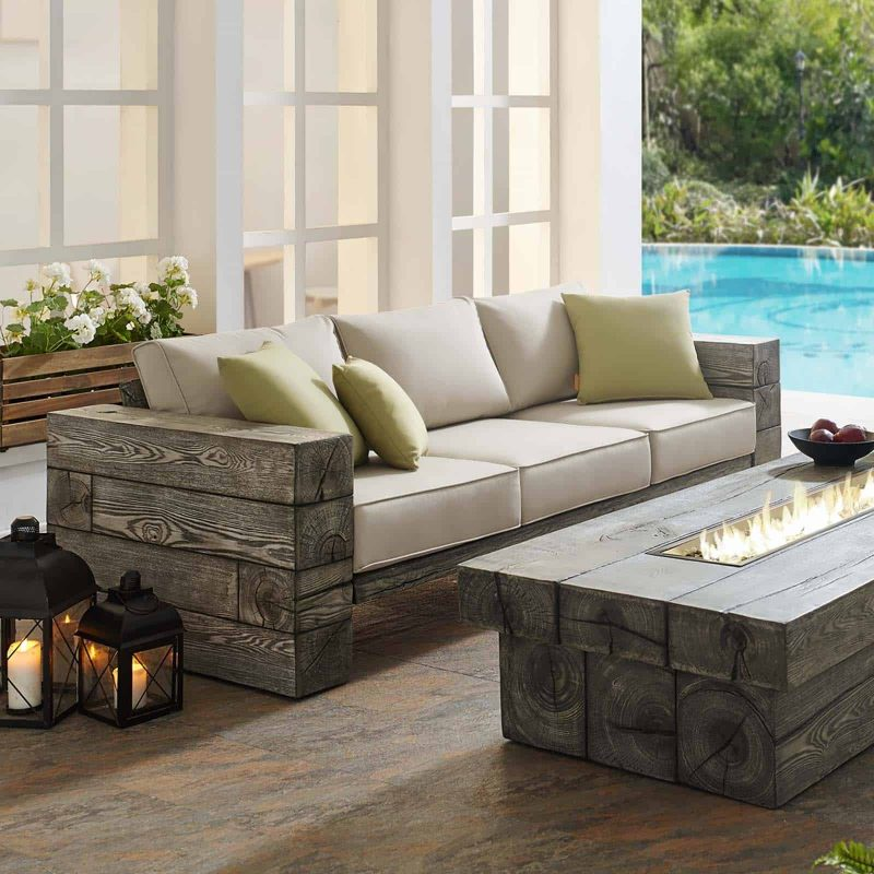 Manteo Rustic Coastal Outdoor Patio Sunbrella® Sofa in Light Gray Beige
