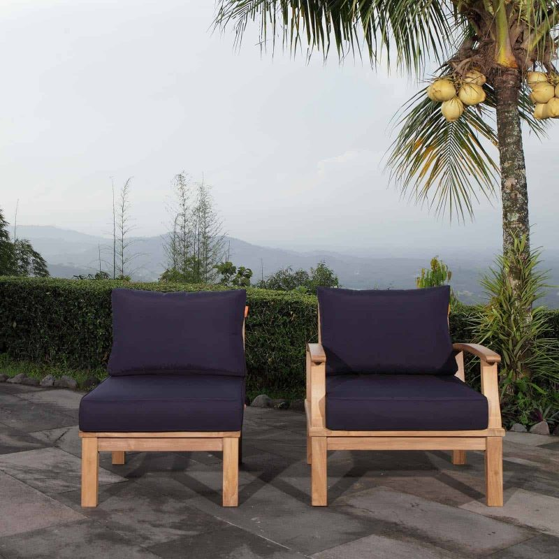 Marina 2 Piece Outdoor Patio Teak Set in Natural Navy