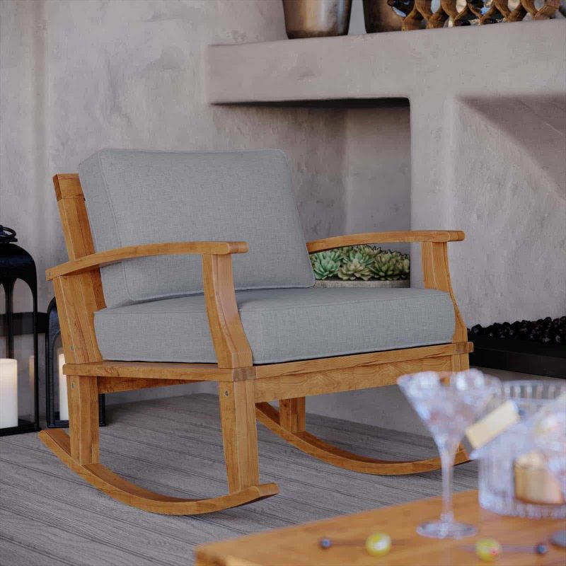 Marina Outdoor Patio Teak Rocking Chair in Natural Gray
