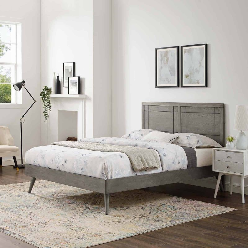 Marlee Full Wood Platform Bed With Splayed Legs in Gray
