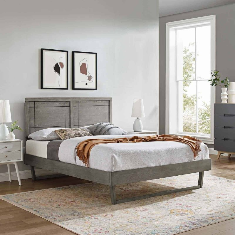 Marlee King Wood Platform Bed With Angular Frame in Gray