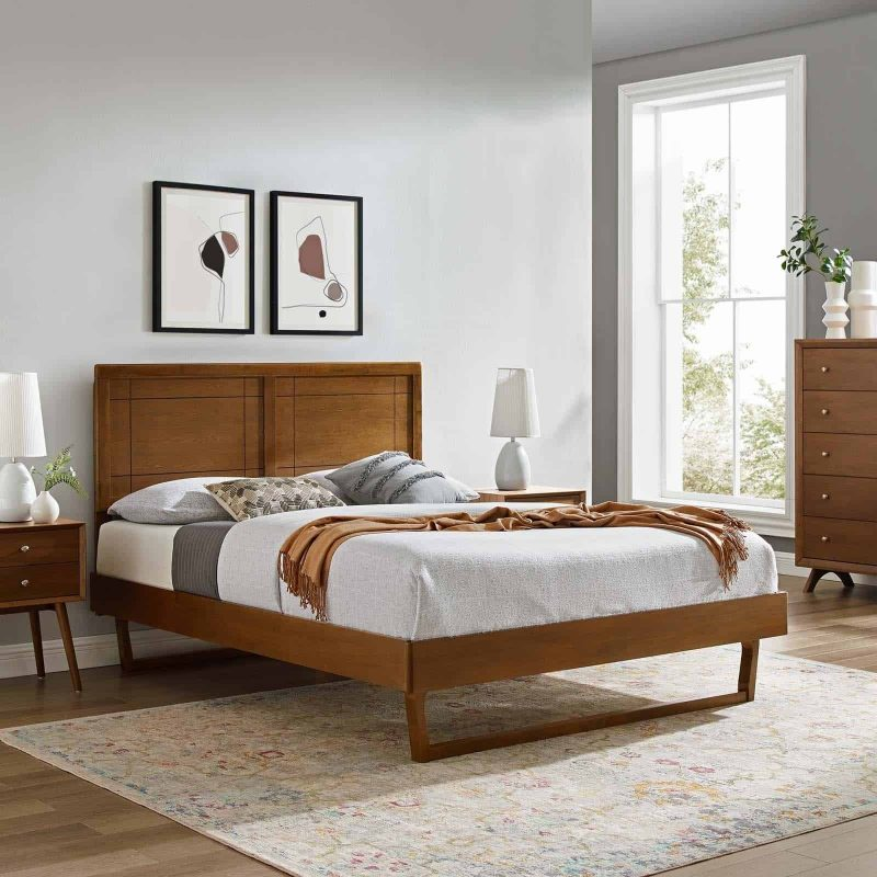 Marlee King Wood Platform Bed With Angular Frame in Walnut