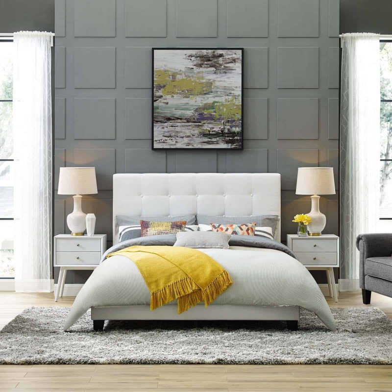 Melanie King Tufted Button Upholstered Fabric Platform Bed in White