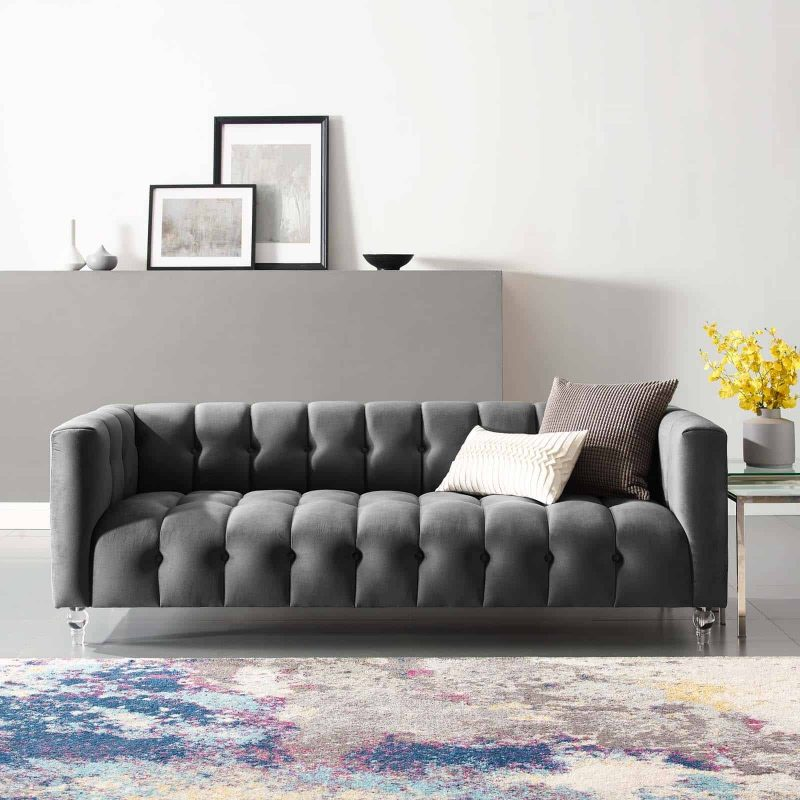 Mesmer Channel Tufted Button Performance Velvet Sofa in Charcoal