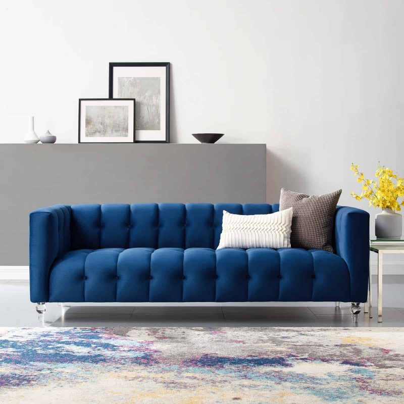 Mesmer Channel Tufted Button Performance Velvet Sofa in Navy