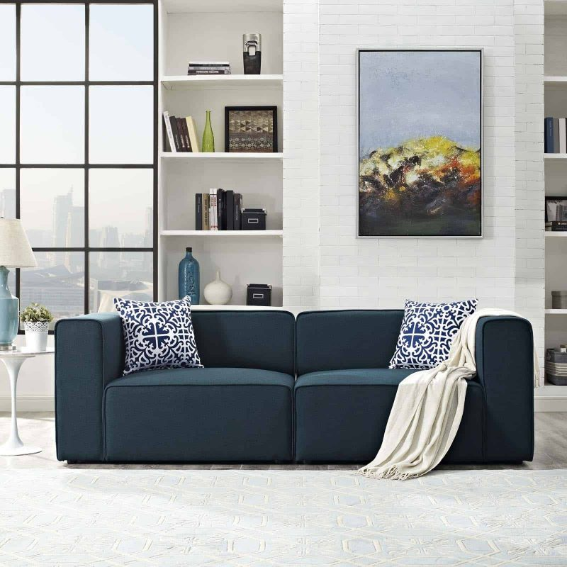 Mingle 2 Piece Upholstered Fabric Sectional Sofa Set in Blue