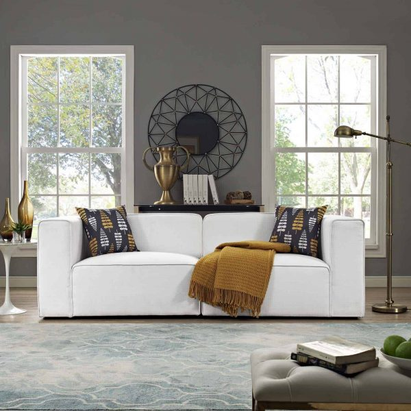 Mingle 2 Piece Upholstered Fabric Sectional Sofa Set in White