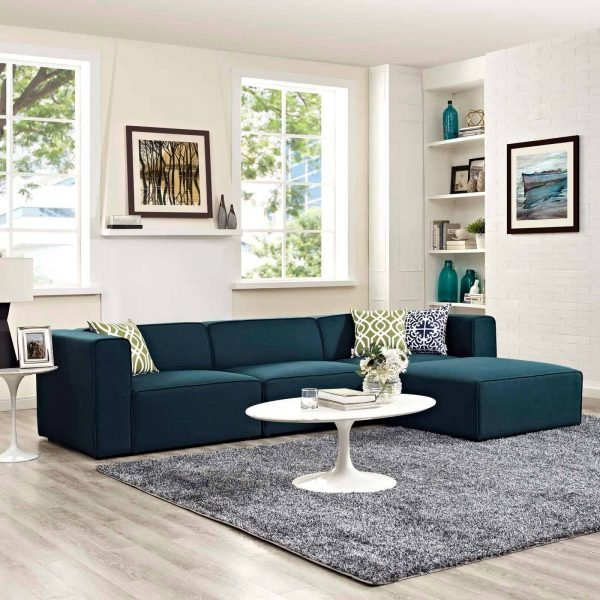 Mingle 4 Piece Upholstered Fabric Sectional Sofa Set in Blue